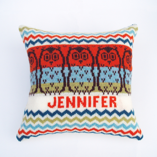 Clova Knits personalised knitted cushions