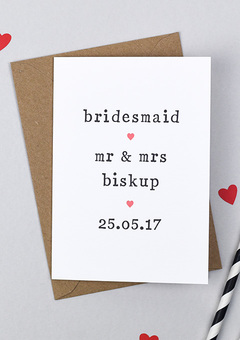 Personalised Bridesmaid Card