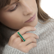 The URBAN BAR RING in a geometric Green Onyx Ring design is strong and edgy with a distinct individual style statement