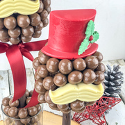 The Christmas hat and tash tree is a new addition this year, with a hat and moustache made from Belgian chocolate
