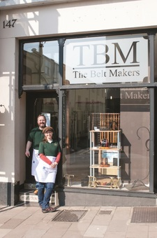 Mark and Marie outside their shop