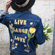embroidered denim jacket with tulips and stars