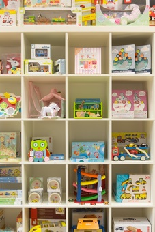 A selection of our beautiful wooden toys on display in the Boutique.