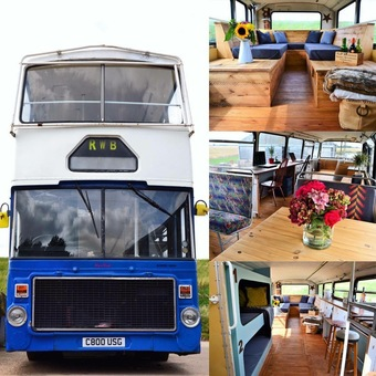 A OLD DOUBLE DECKER BUS WE UPCYCLED USING RECLAMIMED MATERIALS