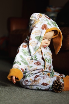 organic leaf print bunny pramsuit with ears for babies