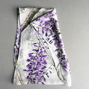 Wisteria photographed in the Lake district adorns silk scarves which can be personalised with your initials.