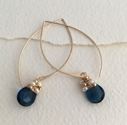 navy quartz hoop earrings