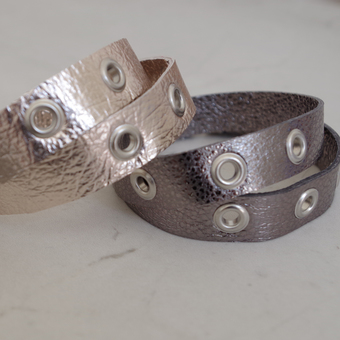 Metallic Leather Eyelet Wrap Bracelet