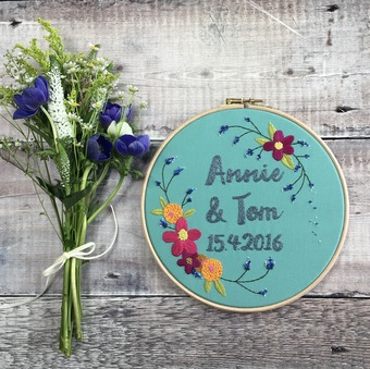 Hand Embroidered Initial Hoop