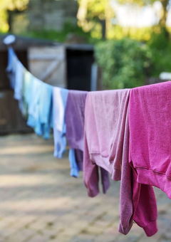 Hand dyed clothes drying on the line