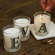 Hand poured personalised alphabet candles