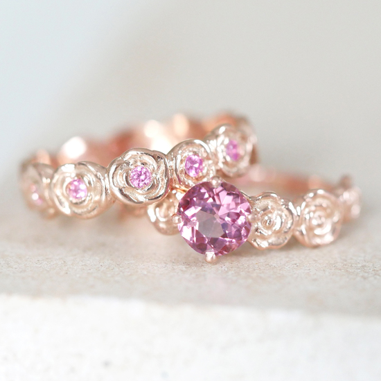 9ct Rose Gold Sapphire Wedding ring set