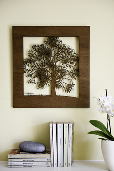 Woodcut Tree Wall art in Golden Oak finish