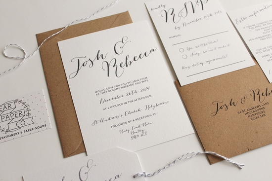 Pear Paper Co Elegant Calligraphy Wedding Invitation Suite