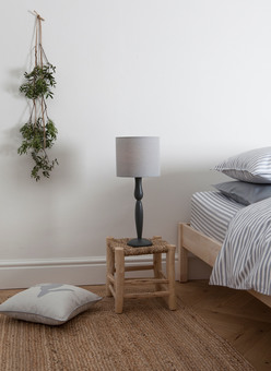 Original Charcoal and Blue-grey Lamp with Ticking Stripe Bed Linen