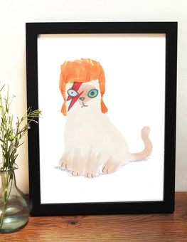 Cat In David Bowie Wig Print