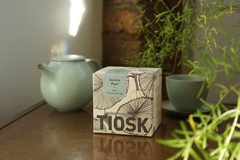 TIOSK loose-leaf tea paired with pebble tea-ware