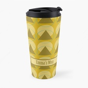 A personalised travel mug featuring a retro design using geometric shapes in earthy colours.