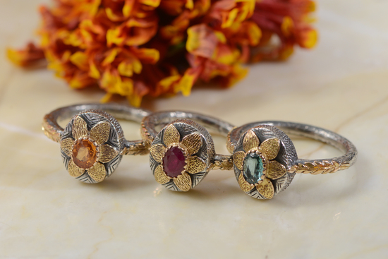 Lola Gold Ruby Emerald Sapphire Rings