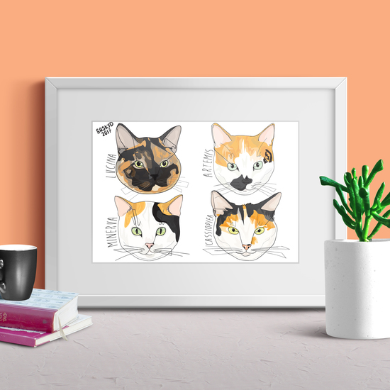 4 Cat Portrait by Saskyd