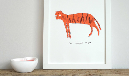 Screen printed tiger illustration