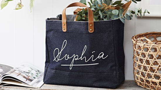 Personalised Denim Shopper by Tillyanna