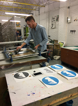 Will Clarke Printing in his studio