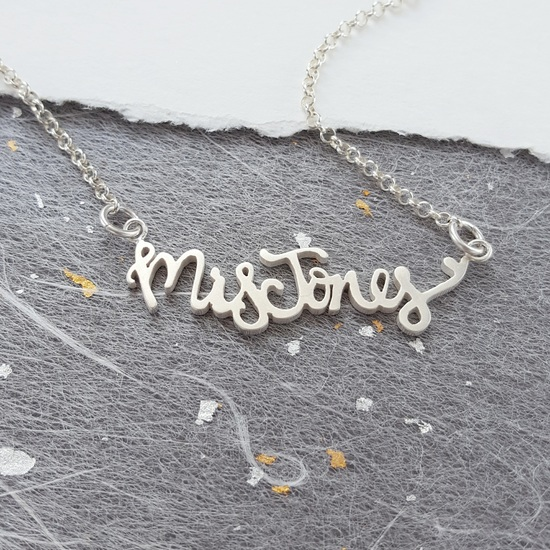 Chunky name necklace with heart
