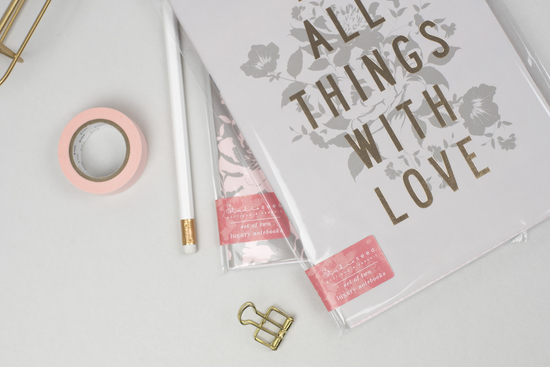 Luxury foiled notebook duo flatlay