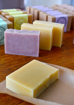 Lovely Greens natural soap is made by hand in small batches