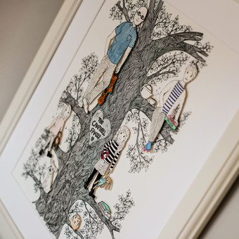 Personalised hand drawn family tree