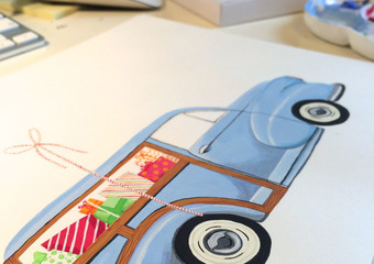 Classic Car Christmas Card Painting