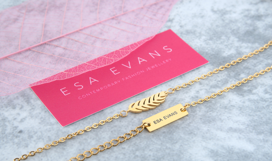 18k Gold Plate Feather Pendant and ESA EVANS logo