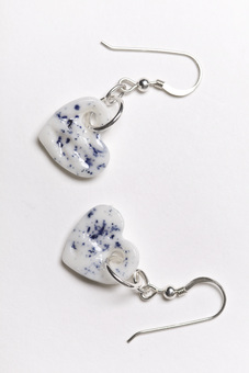 Blue Speckled Porcelain Heart Earrings