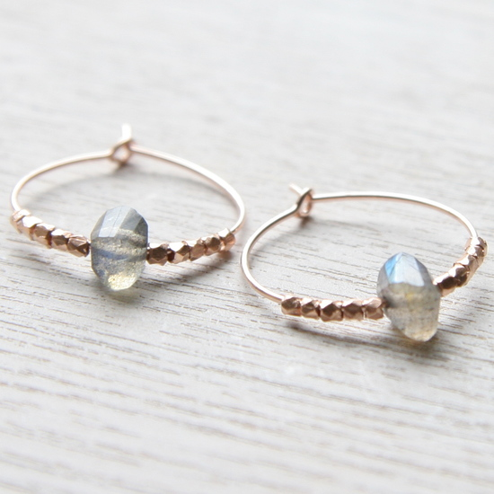 These are one of the best sellers in the MyHartBeading range, once featured in the NotOnTheHighstreet Christmas Catalogue. Fair Trade Rose Gold and Labradorite.