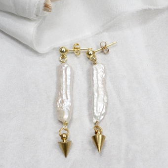 Keshi Pearl Spike Earrings
