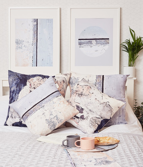 textured cushions and art prints