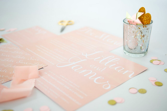 Pastel Blush Luxury Wedding Stationery by Anon Design
