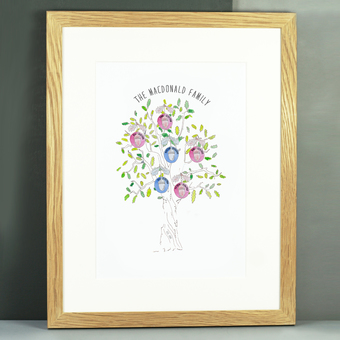 family tree mighty oak acorns watercolour personalised print life