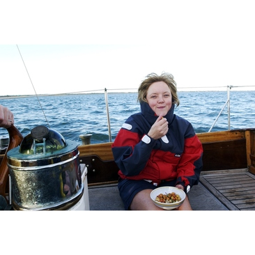 Eating snacks and sailing = bliss