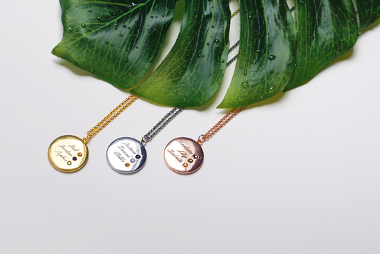 Cuff London - Three Name and Birthstone Pendant