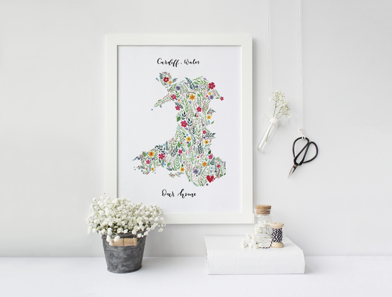Personalised floral map of Wales