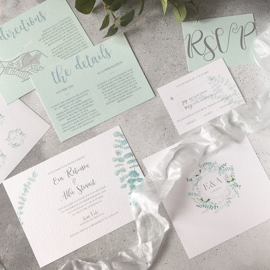 luxury eucalyptus wedding invitation and stationery design by Sugar and Spice Designs