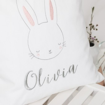 Personalised embroidered childrens bunny cushion