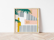 Miami inspired collaged pastel print wall art