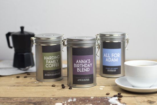 personalised coffee tins