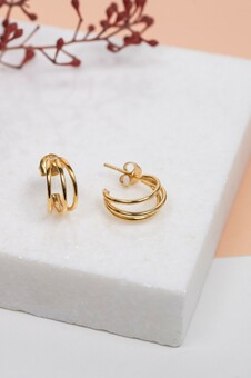 Gold Vermeil Triple Hoop Earrings