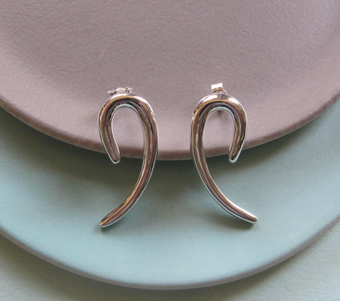 Katrina Alexander Silver Curved Earrings