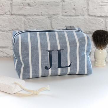 Chambray Stripe Personalised Men's Wash Bag