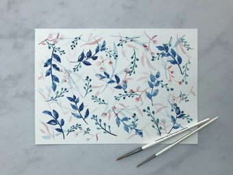 painting flowers with watercolours